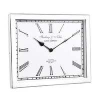 Endon Rochford mantel clock polished nickel plate H: 255mm  W: 305mm  D: 115mm
