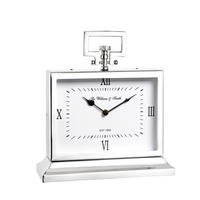 Endon Havant medium mantel desk clock polished nickel plate H: 250mm W: 235mm
