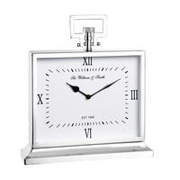 Endon Havant large mantel desk clock polished nickel plate H: 315mm W: 285mm