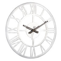Endon Pavia large round wall clock polished aluminium Dia: 585mm  Proj: 45mm
