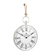 Endon Marshall wall clock polished nickel plate rope H: 730mm Dia: 405mm