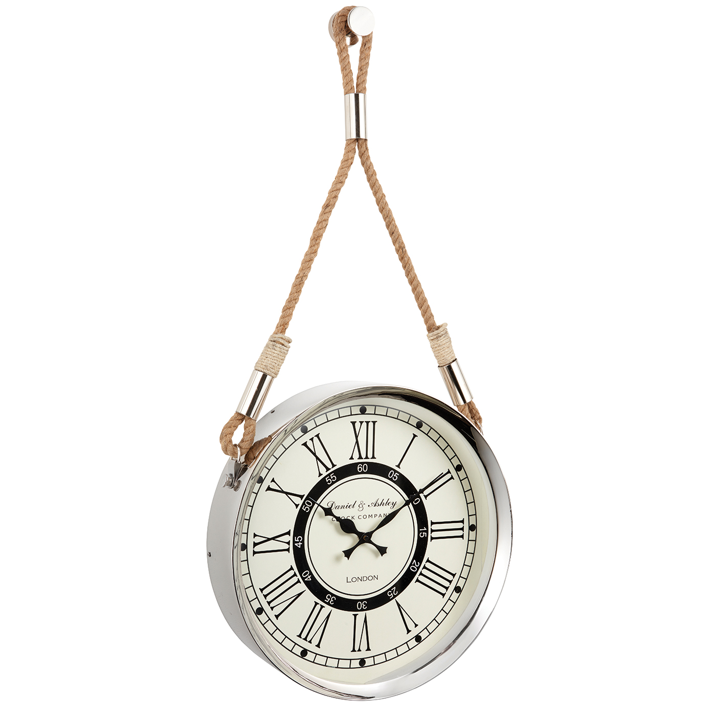 endon kramer wall clock polished nickel plate rope h. Black Bedroom Furniture Sets. Home Design Ideas