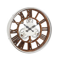 Endon Fairbank wall clock polished nickel plate natural wood Dia: 345mm