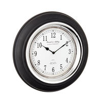 Endon Boyd wall clock black painted wood polished nickel plate Dia: 430mm