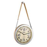 Endon Cusak large wall clock polished nickel plate tan leather Dia: 400mm