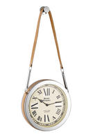 Endon Cusak small wall clock polished nickel plate tan leather Dia: 250mm