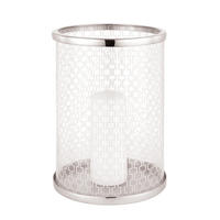 Endon Daventry hurricane lamp glass polished nickel plate 250mm H x 185mm dia