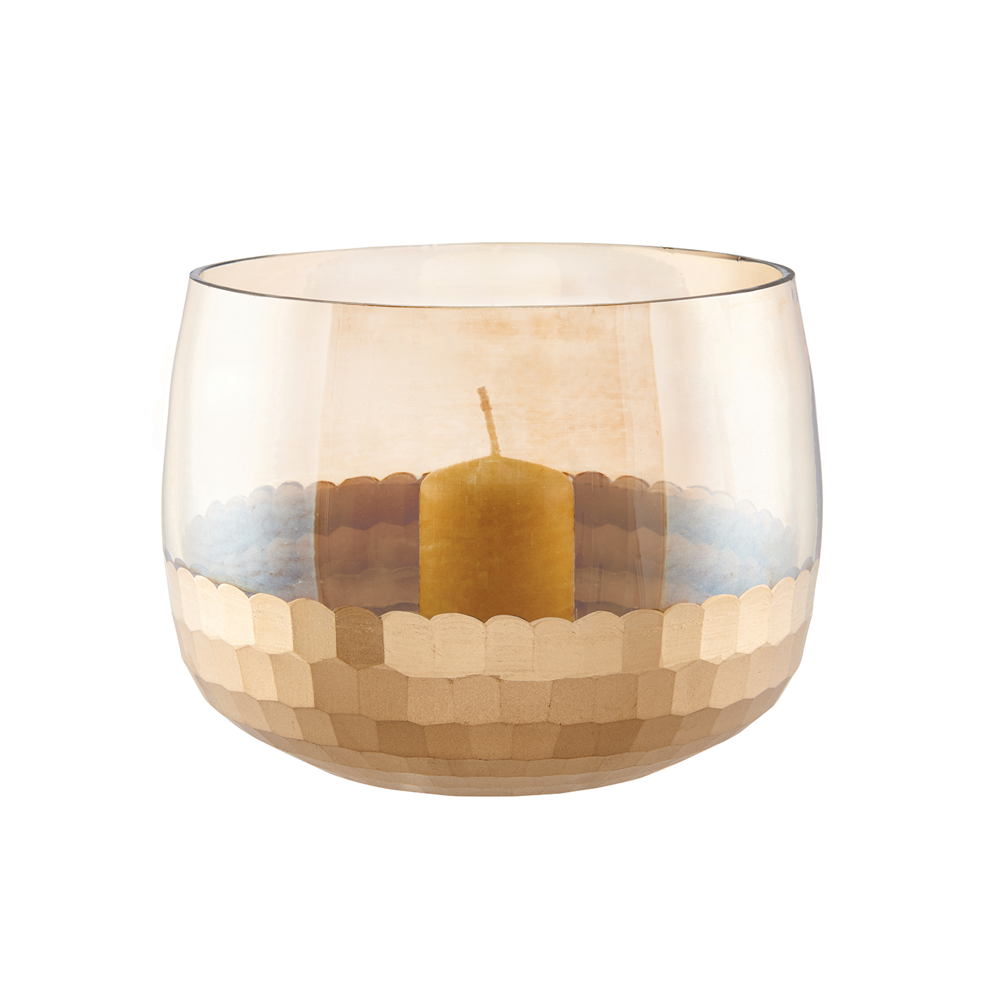 Endon Lima medium hurricane lamp glass & matt gold paint 120mm H x 160mm dia