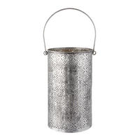 Endon Charlbury large lantern pewter plate & glass 410mm H x 160mm dia