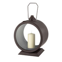 Endon Beecher lantern Dark bronze paint & glass 390mm H x 240mm W x 160mm depth