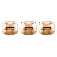 Endon Lima set of 3 small tealight holders glass & gold paint 63mm H x 85mm dia