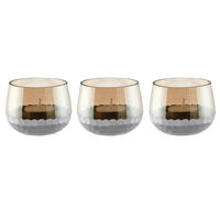 Endon Lima set of 3 small tealight holders glass & silver 63mm H x 85mm dia