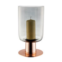 Endon Ludlow hurricane lamp glass & satin copper plate 315mm H x 168mm dia