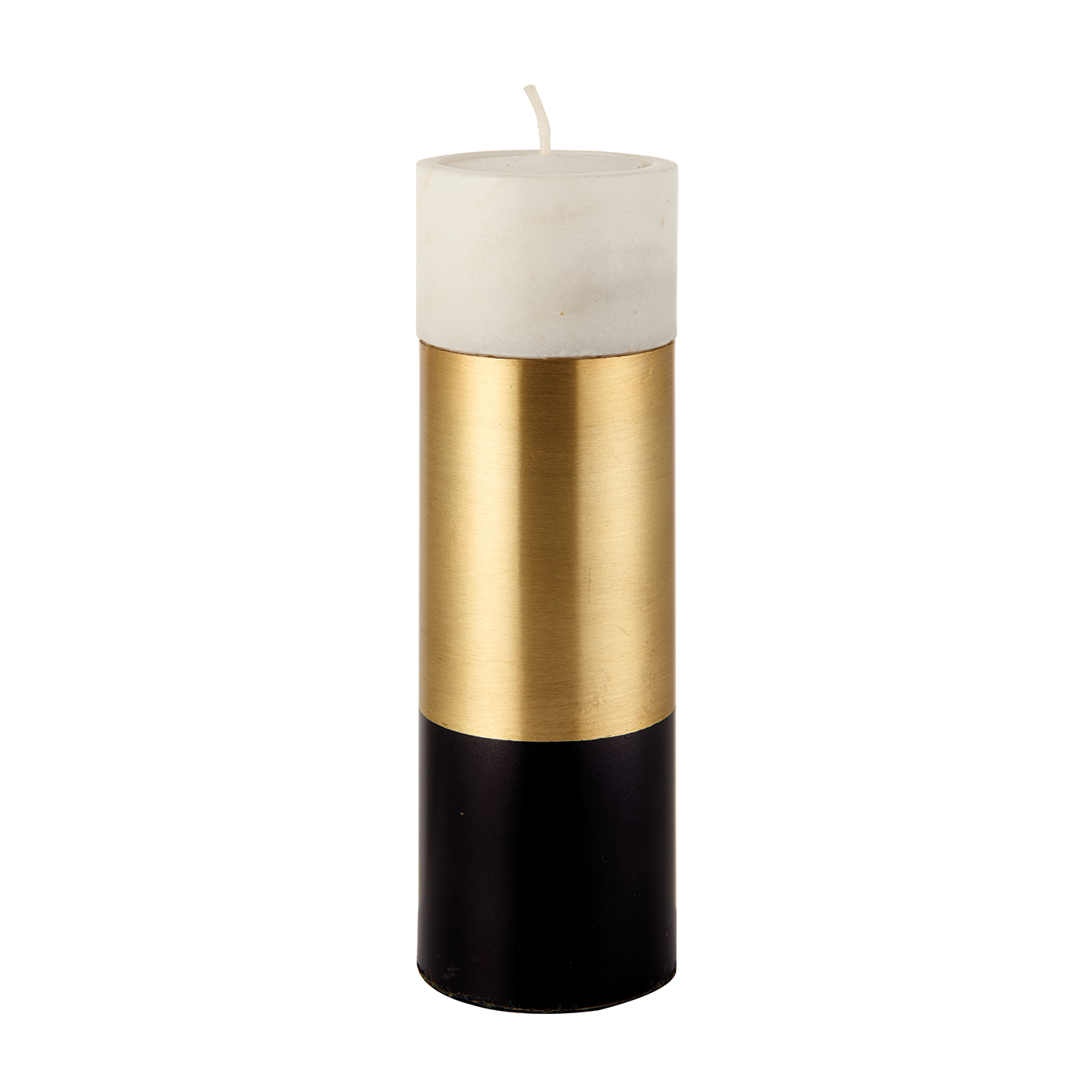 Endon Passo large tealight holder White marble & satin brass 150mm H x 50mm dia Thumbnail 1