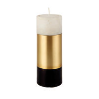 Endon Passo medium tealight holder White marble & satin brass 130mm H x 50mm dia