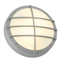 Intalite exterior IP44 BULAN GRID wall ceiling light round silver E27 2x 25W
