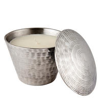 Endon Clevedon lemongrass scented candle Polished aluminium 90mm H x 105mm dia