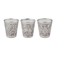 Endon Lynton set of 3 day spa scented candles nickel plate 70mm H x 65mm dia