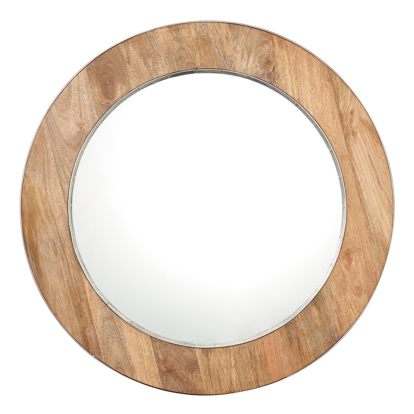 Endon torrington miroir rond bois naturel diam tre 820mm for Gros miroir rond