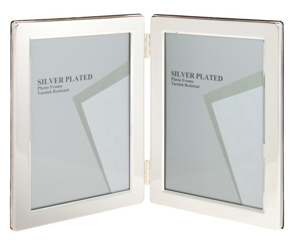 "Silver Plated Double Picture Photo Frame 6"" x 8"""