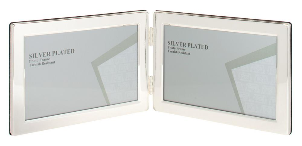 "Silver Plated Picture Photo Landscape Double Frame 4"" X 6"", 5"" X 7"" By Unity"