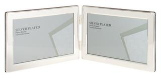 "Silver Plated Picture Photo Landscape Double Frame 4"" X 6"", 5"" X 7"" By Unity Thumbnail 1"