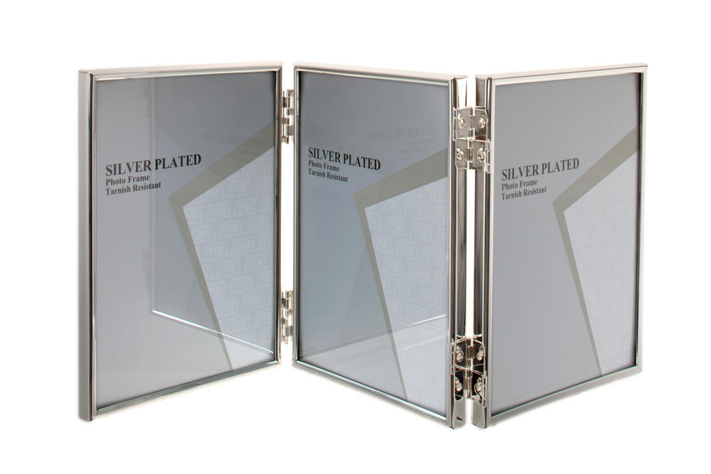 "Unity Silver Plated Thin Edge Triple Picture Photo Frame - 3.5"" X 5"" 4""X6"" 5""X7"" 6""x8"" 8""x10"""