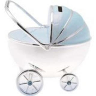 Silver Plated Pram Money Box Baby Gift In Blue Ideal For Boys Thumbnail 1