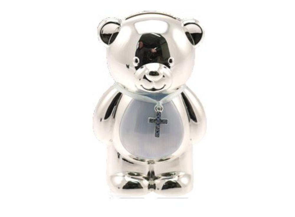 Silver Plated Christening Teddy Bear Blue Boys Money Box Gift By Leonardo