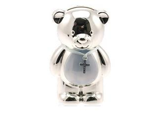 Silver Plated Christening Teddy Bear Blue Boys Money Box Gift By Leonardo Thumbnail 1