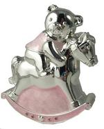 Rocking Horse And Teddy Money Box Silver Plated Pink Girls Christening Gift
