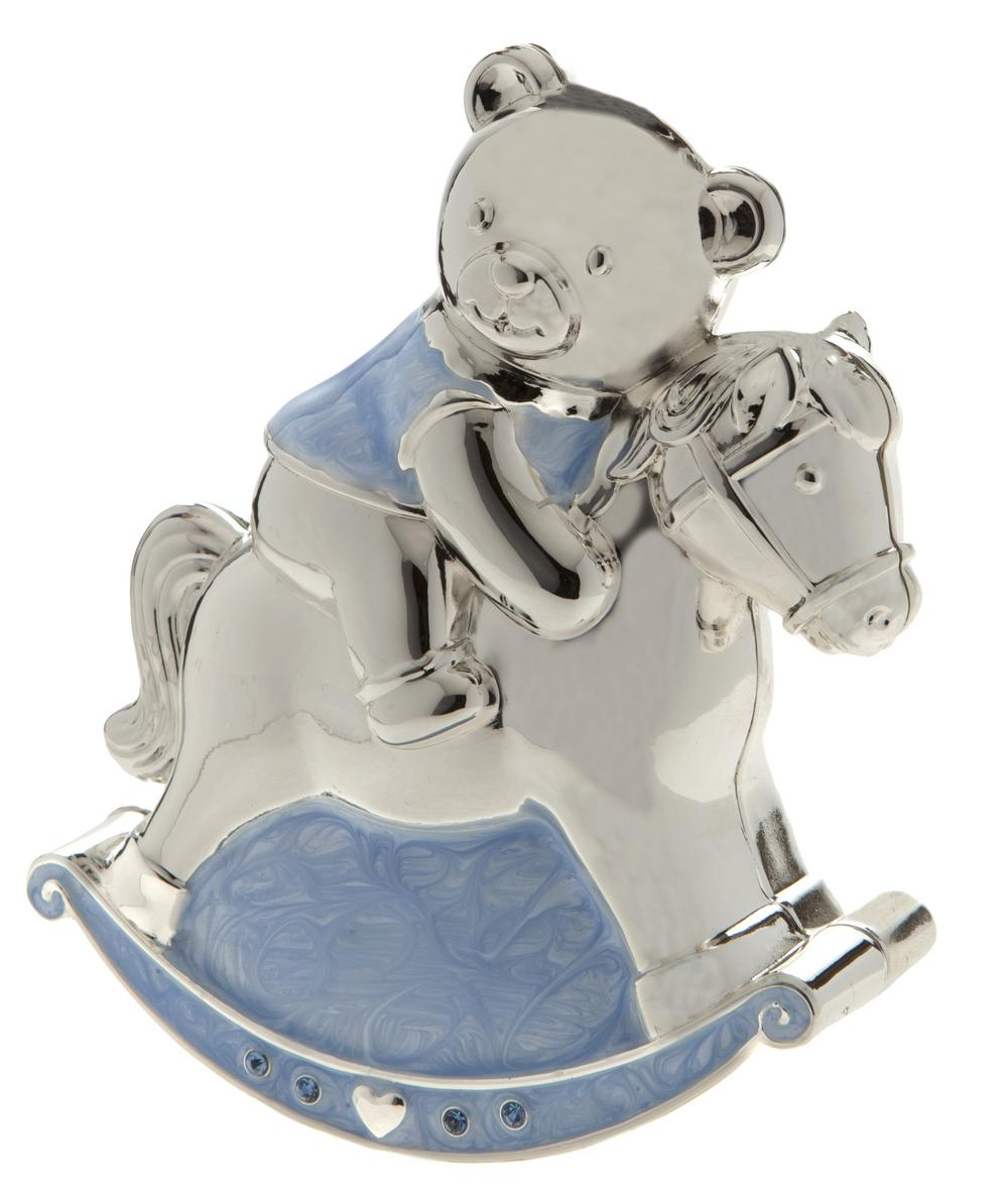 Rocking Horse And Teddy Money Box Silver Plated Blue Boys Christening Gift