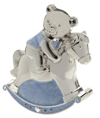 Rocking Horse And Teddy Money Box Silver Plated Blue Boys Christening Gift Thumbnail 1