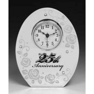 25Th Anniversary Clock Gift With Mirrored Rose Floral Design Thumbnail 1