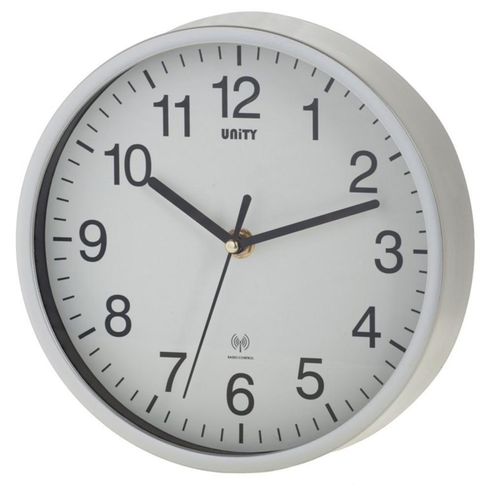 "Radio Controlled Wall Clock By Unity Radcliffe Clock In Silver And White 8"" 20Cm"