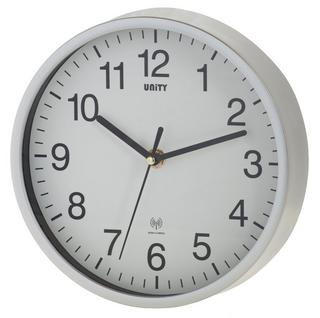 "Radio Controlled Wall Clock By Unity Radcliffe Clock In Silver And White 8"" 20Cm Thumbnail 1"