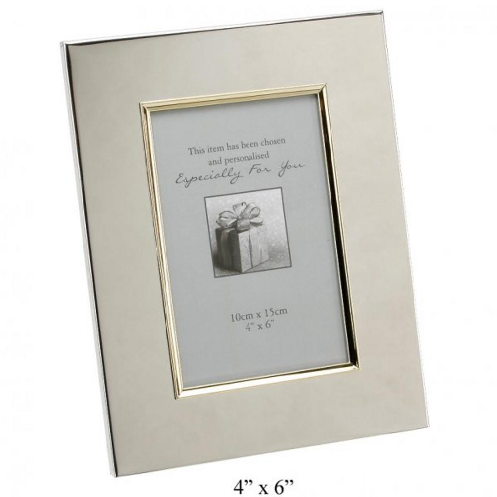 "Juliana Engravable Picture Frame 4"" X 6""  Gold Border Silver Plated Gift New"