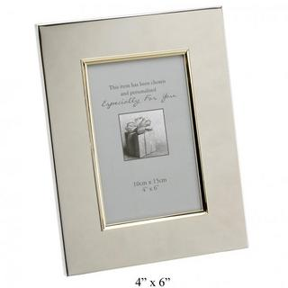 "Juliana Engravable Picture Frame 4"" X 6""  Gold Border Silver Plated Gift New Thumbnail 1"