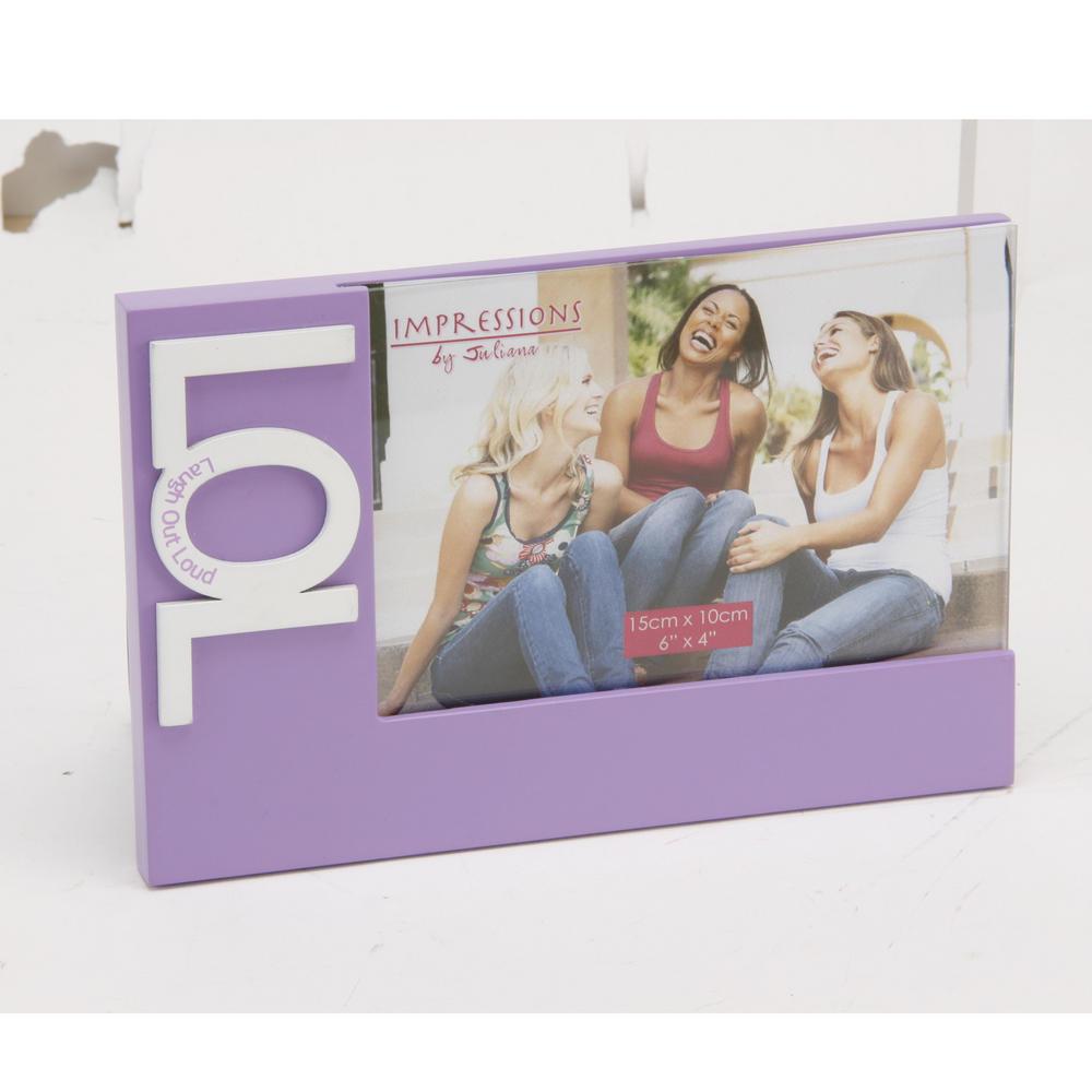 "Girl Talk Mdf Photo Frame 3D Icons ""Lol"" Lilac 6"" X 4"" H 20 W 13 D 1 Cm"