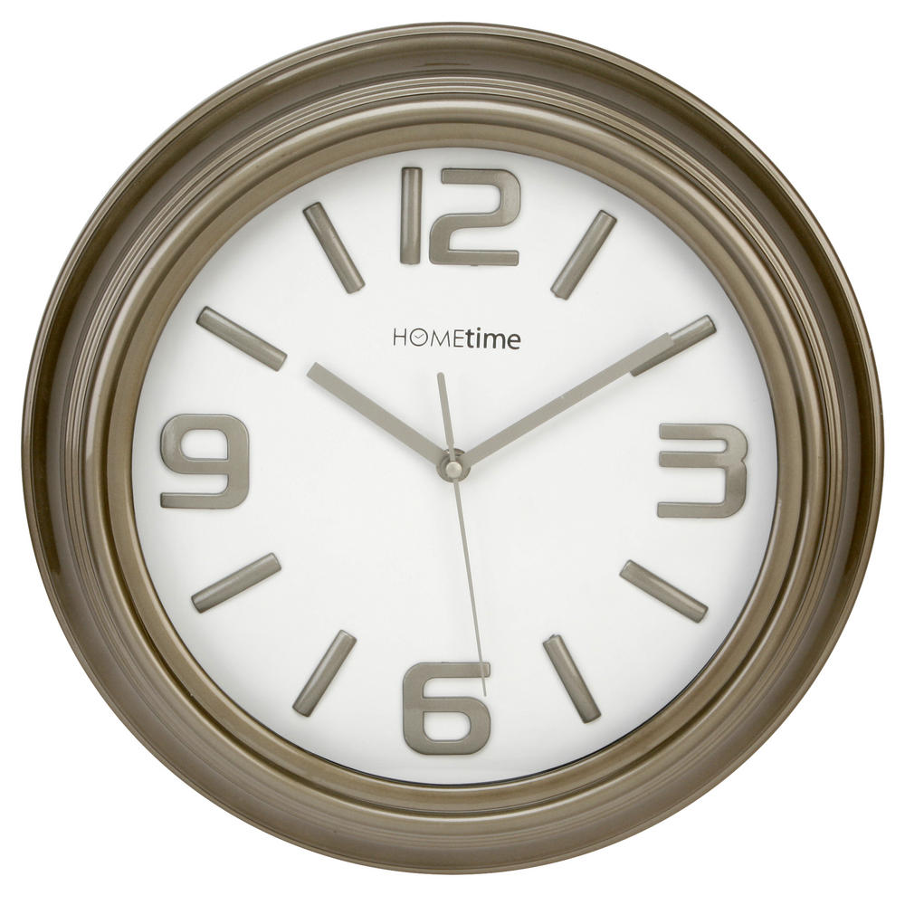 Hometime Wall Clock Grey Shiny Case With Shiny No'S Arabic Dial Case