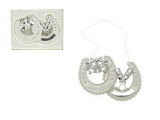 Leonardo Silver Plated Twin Horse Shoes Lucky Charm Wedding Keepsake Gift Thumbnail 1