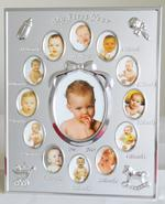 Satin Silver My First Year Photo Frame