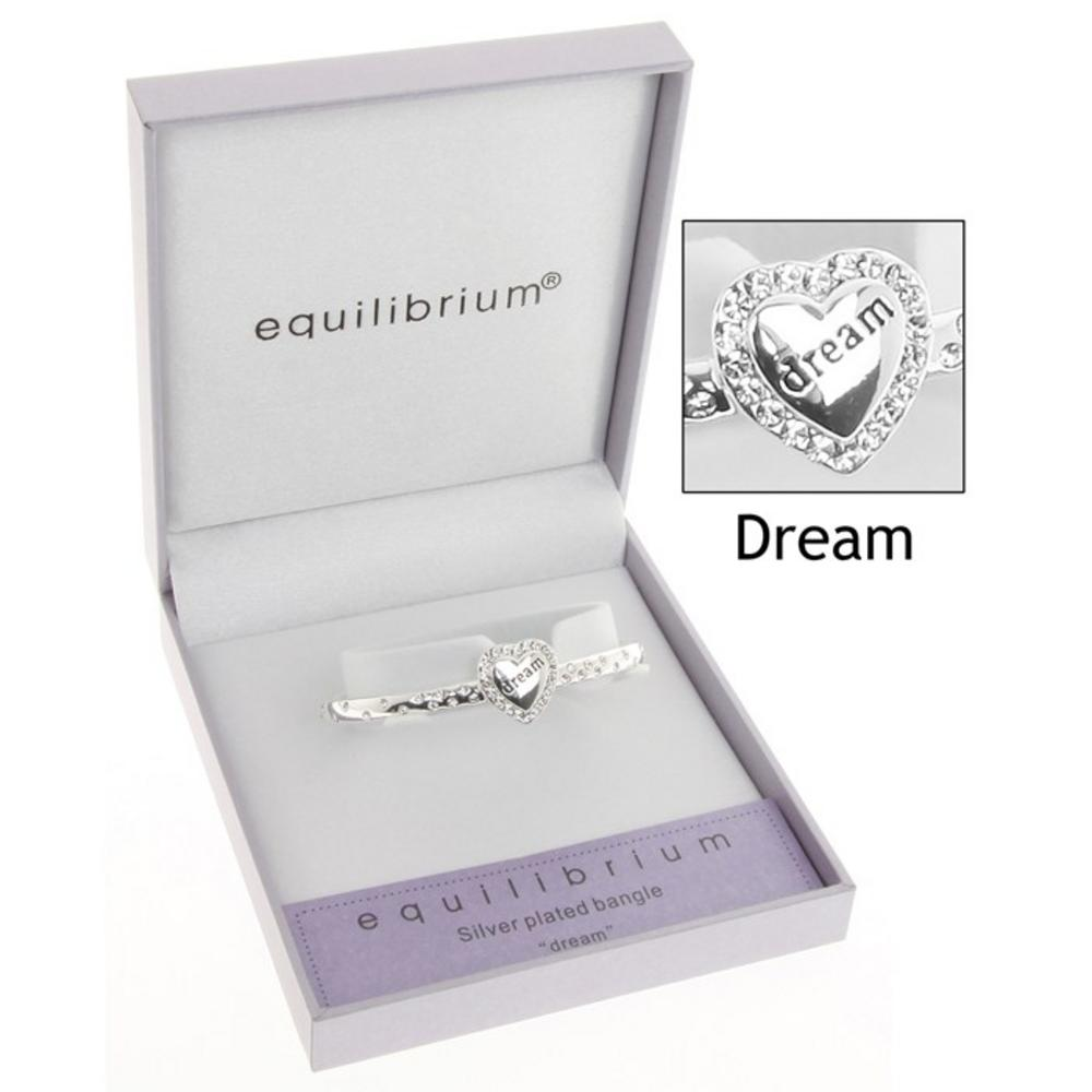 Equilibrium Silver Plated Diamante Dream Bangle In Gift Box - Ideal Gift