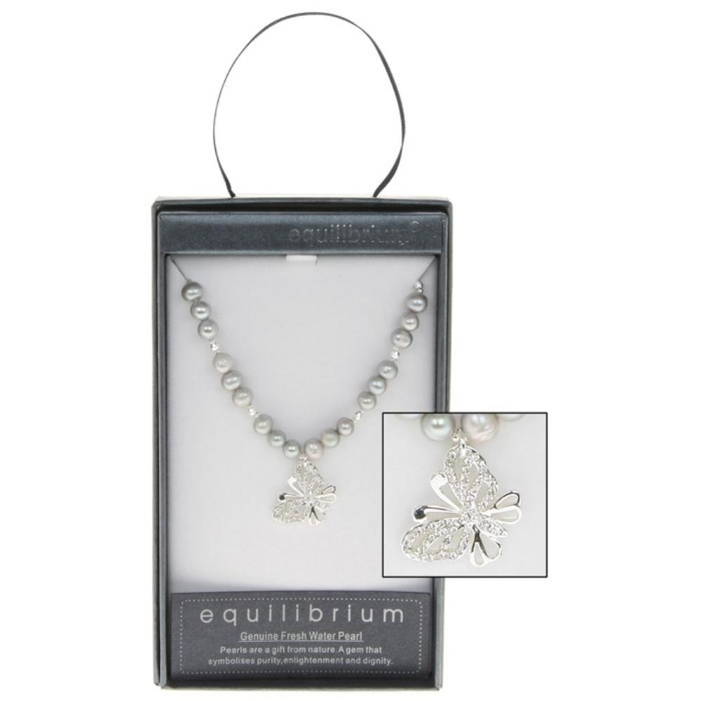 Fresh Water Pearl Butterfly Charm Necklace In Grey Boxed By Equilibrium