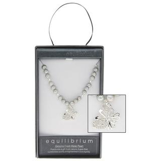 Fresh Water Pearl Butterfly Charm Necklace In Grey Boxed By Equilibrium Thumbnail 1