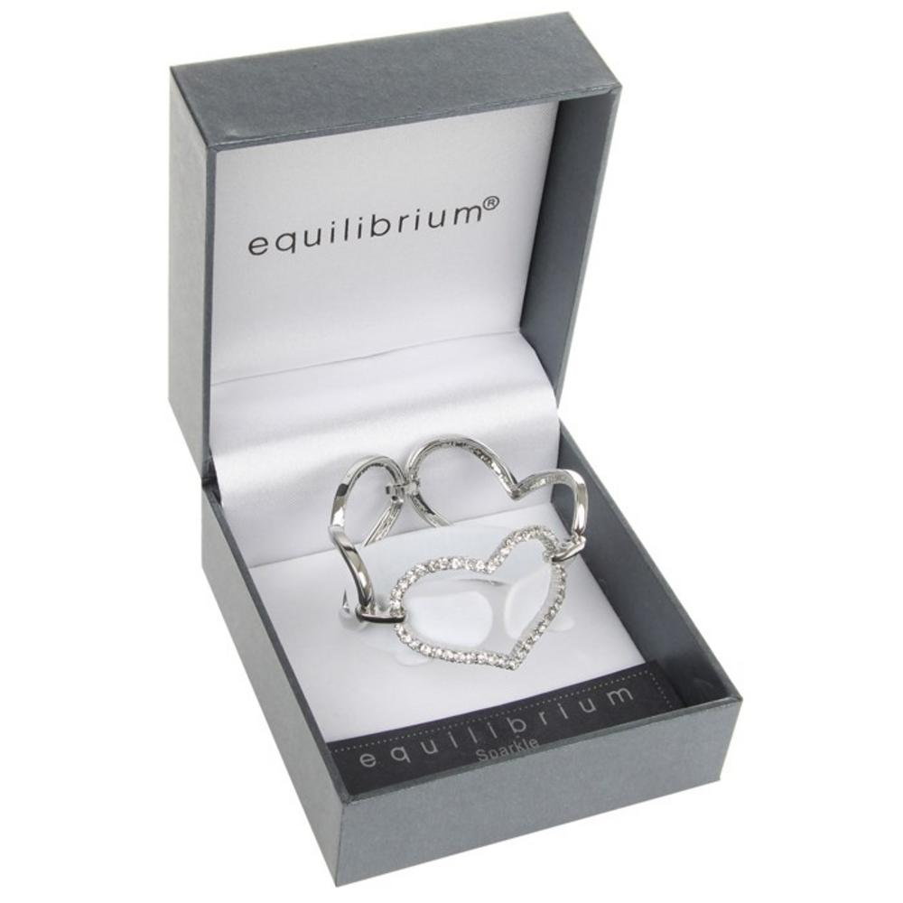 Equilibrium Silver Plated Three Large Hearts  Bracelet And Gift Box W. Diamante