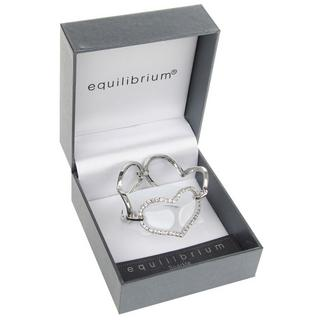 Equilibrium Silver Plated Three Large Hearts  Bracelet And Gift Box W. Diamante Thumbnail 1