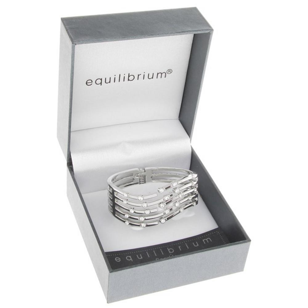 Random Diamonds Hinged Bangle Clear Silver Plated Gift Box By Equilibrium