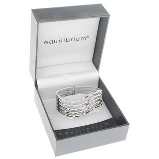 Random Diamonds Hinged Bangle Clear Silver Plated Gift Box By Equilibrium Thumbnail 1