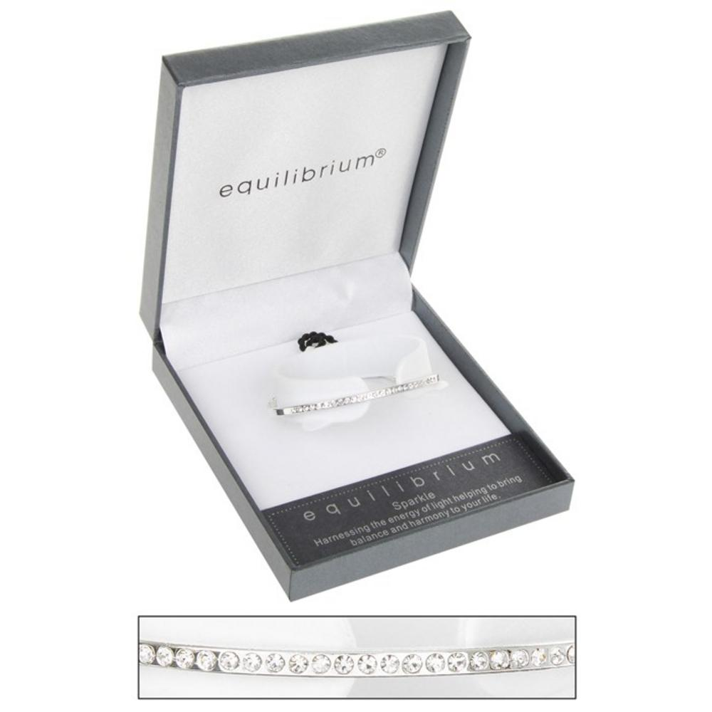 Diamante Bangle Silver Plated Half Leather Bracelet By Equilibrium Gift Boxed